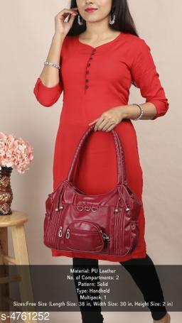 Attractive Women's Maroon Faux Leather/Leatherette Handbag