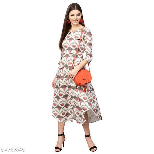 Printed White Calf-Length Cotton Dress