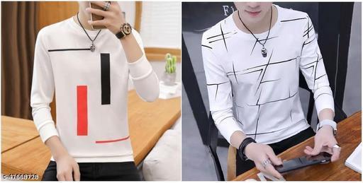 Fancy Modern Printed & Colourblock Round Neck T shirt
