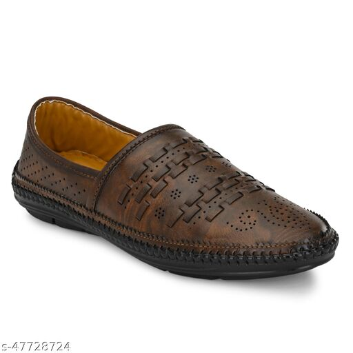 Paris Style New Latest Ethnic Casual Synthetic Leather Loafer  For Mens Color Brown