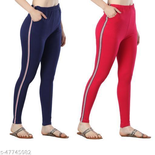 DIAZ cotton lycra side strip patti legging for girls/women pack of 2