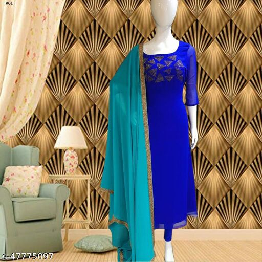 Flamboyant Royal Blue Colored Partywear Diamond Work Stitched Georgette Churidar Suit