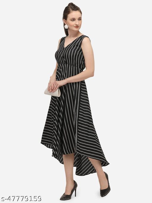 Black Stripe Long Maxi Dress with High and Low Flared hemline