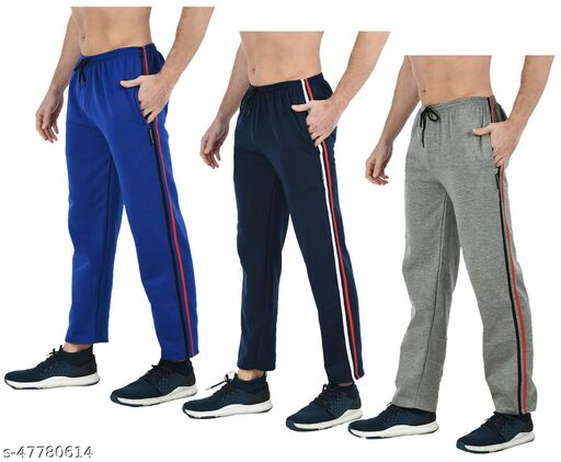 IndiWeaves Mens Solid Fleece Warm Track Pants with 2 Side Open Pockets (Pack of 3)