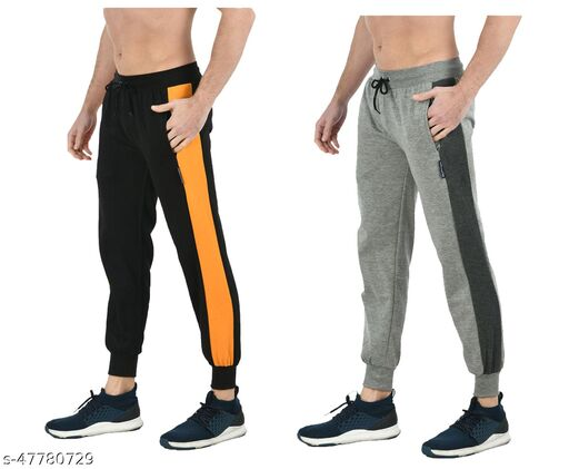 IndiWeaves Mens Solid Fleece Warm Lower/Track Pants (Pack of 2)