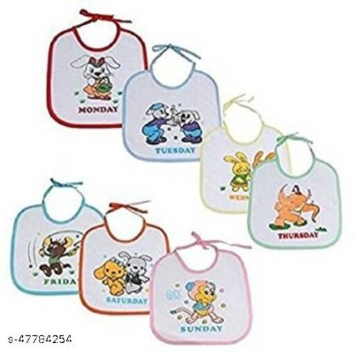 Ducncon Kids Beautiful Printed 7 Days baby boy and baby girl Bibs - Design And Color May Vary  (Multicolor)