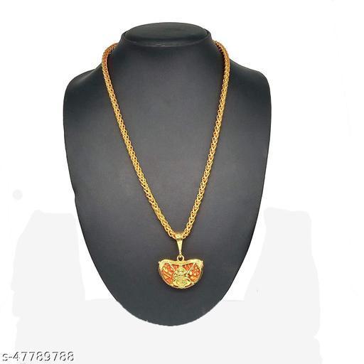 PIHOO ENTERPRISE GOLD PLATED PENDANT AND CHAIN FOR MEN OR BOYS Ganesh Locket & JAYPURI chain