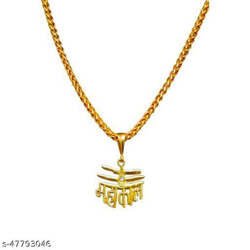 PIHOO ENTERPRISE GOLD PLATED PENDANT AND CHAIN FOR MEN OR BOYS Mahakal Trinetra & JAYPURI chain