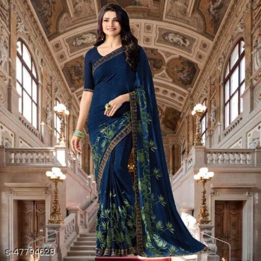 Daily wear Georgette fancy saree with Dupion Silk Separate Blouse Piece with best Quality