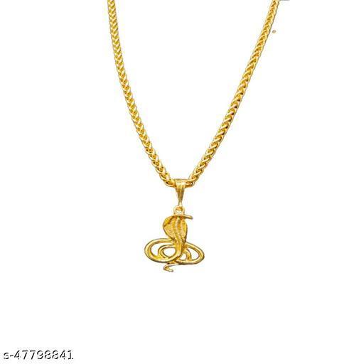PIHOO ENTERPRISE GOLD PLATED PENDANT AND CHAIN FOR MEN OR BOYS Snake ONLE & JAYPURI chain