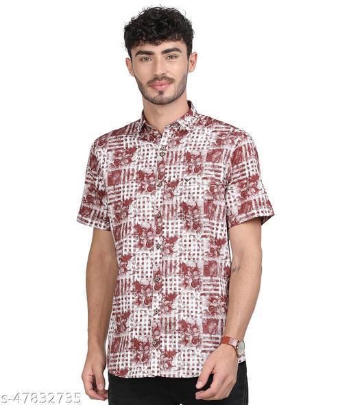 Ferradini -Men White & Burgandy Slim Fit S/Slv Printed Casual Shirt.(FSS03_BURG)