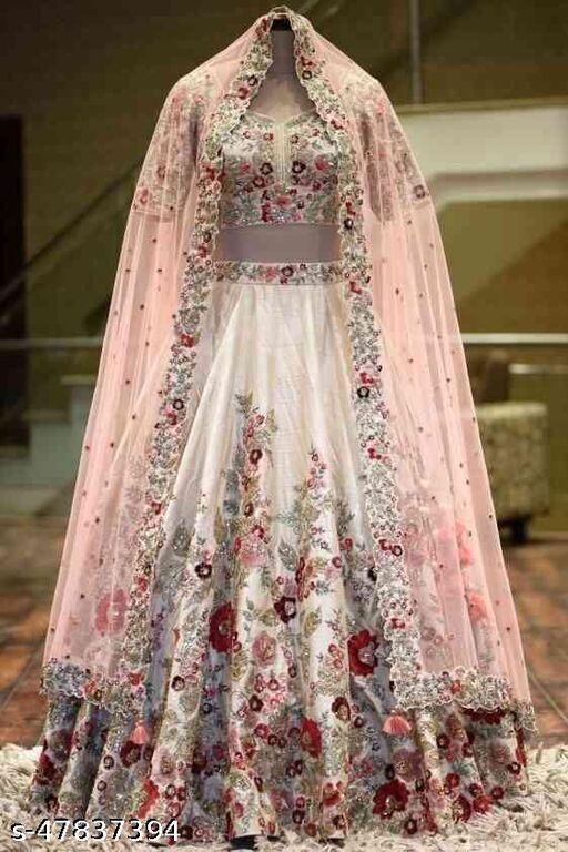 Off white Embroidered Attractive Party Wear silk Lehenga choli LC--210