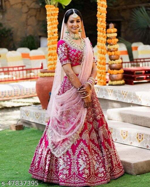 Pink Designer Partywear Embroiderd Work Semi Stiched Malay satin Material With dupatta and Blouse Lenhenga choli - LC 11