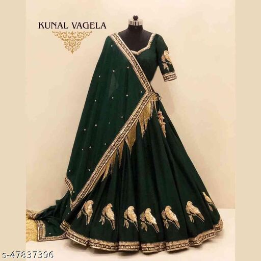 Green Colored Designer Partywear Embroidered Work Silk Material Lehenga Choli LC 224