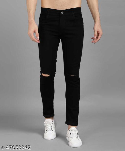 Star4well Men Knee Cut Black Jeans