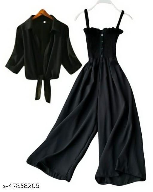 Stylish Black Jumpsuit With Black Shrug