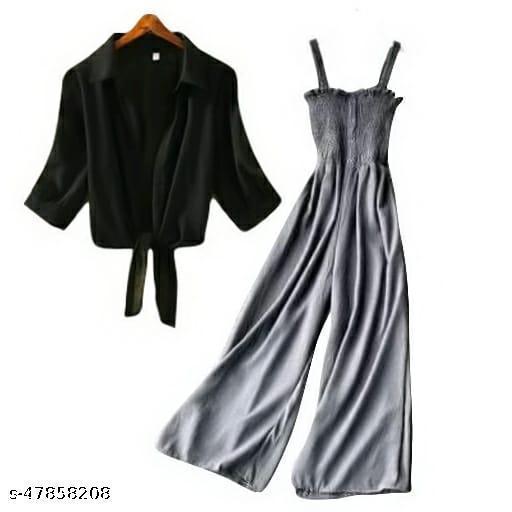 Stylish Grey Jumpsuit With Black Shrug