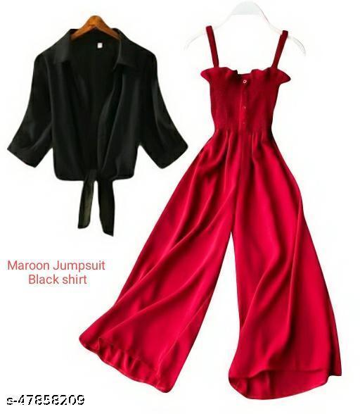 Stylish Maroon Jumpsuit With Black Shrug