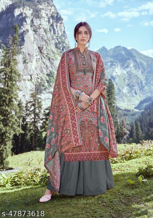 Pashmina   Designer Printed Suit With Siroski Work