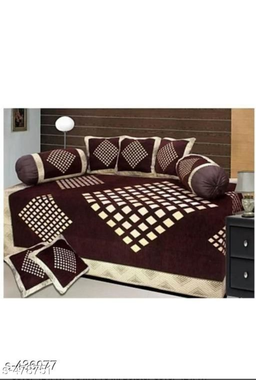 Diwan Sets Classy Chenille Diwan Set  *Fabric* Bedsheet - Chenille , Cushion Covers - Chenille, Bolster - Chenille   *Dimension* ( L X W ) - Bedsheet - 90 in x 60 in, Cushion Covers - 27 in x 17 in, Bolster Covers - 31 in x 16 in   *Description* It Has 1 Piece Of Single Bed Sheet, 5 Pieces Of Cushion Covers & 2 Pieces Of Bolster Covers   *Work* Printed   *Thread Count* 500  *Sizes Available* Free Size *   Catalog Rating: ★3.9 (1281)  Catalog Name: Comforstic Chenille Diwan Set Vol 1 CatalogID_52471 C117-SC1107 Code: 286-478751-