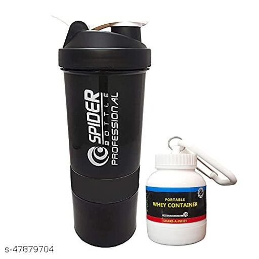 TRUE INDIAN, MultiPurpose Gym Shaker Bottle With Whey Portable Protein or Supplement Powder Carrying Container with Key Chain (Black)