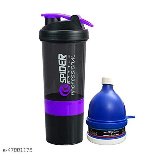 TRUE INDIAN, Special Gym Shaker Bottle With Whey Portable Protein or Supplement Powder Carrying Funnel (Purple)