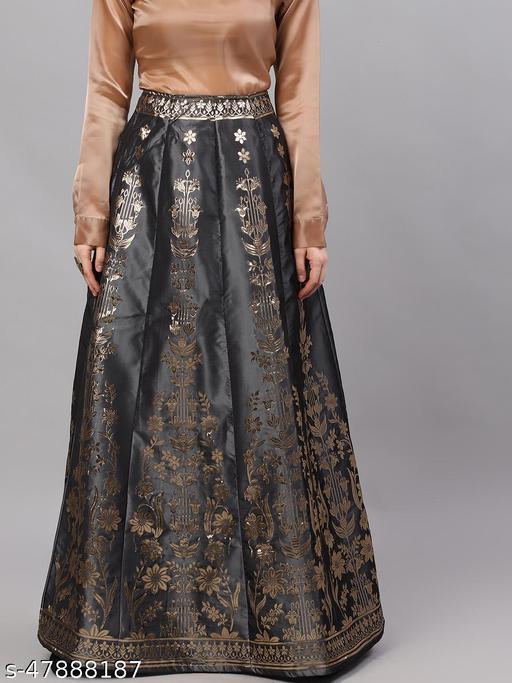 Grey & Gold Jacquard Zari Work Flared Skirt