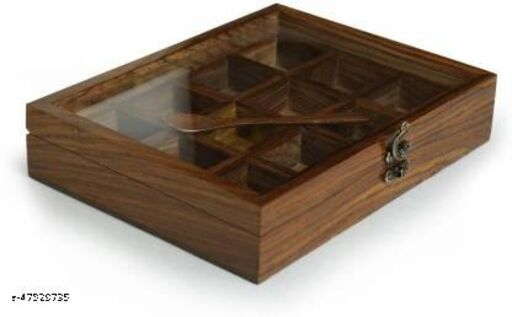 Wooden Masala Dabba with Glass Lid   12 Partition Spice Jar with 1 Spoon
