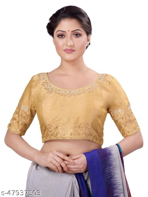 Navrang women's zari embroidered gold silk round neck short sleeves blouse come in free size