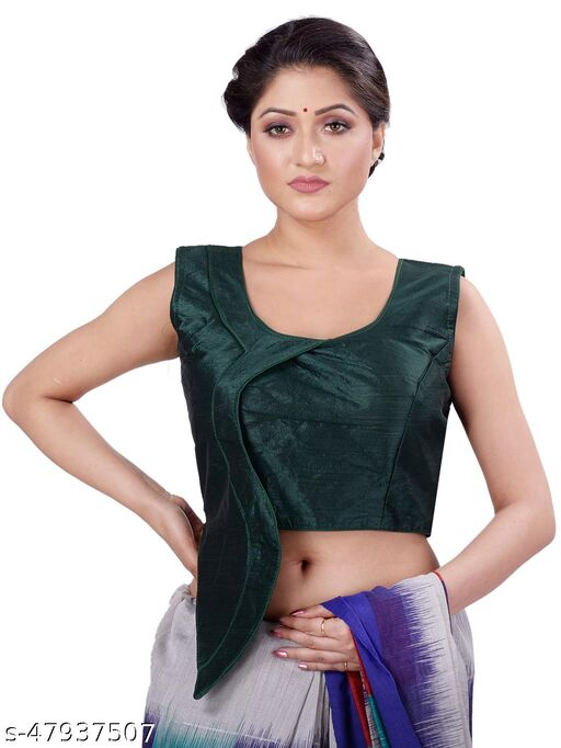 Navrang women's solid green blouse with flap style and round neck comes with attached sleeves