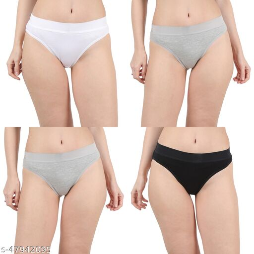Women Hipster White Cotton Panty (Pack of 4)