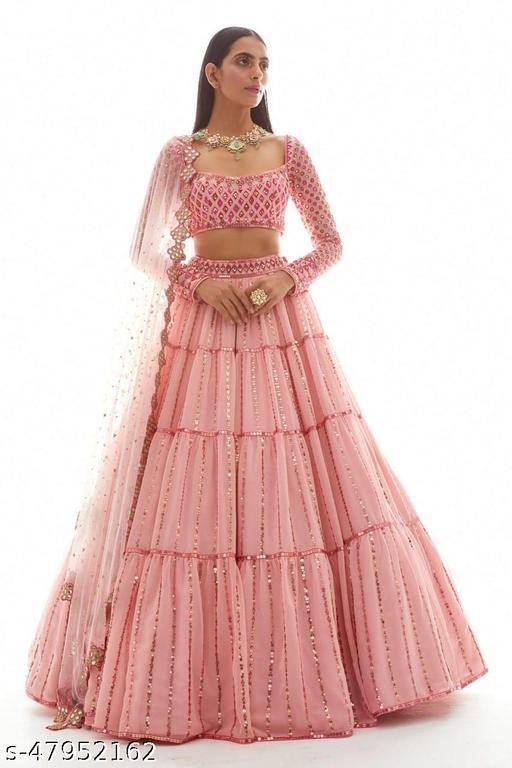 Pink Lehenga Choli : Peach Hand Embroidered Lehenga Set