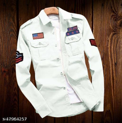 Trendy White Stylish Cargo Men Shirt