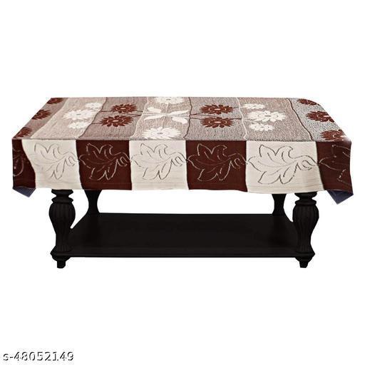 Adakriti Creations Centre Table Cover 4 Seater Flower Design Brown