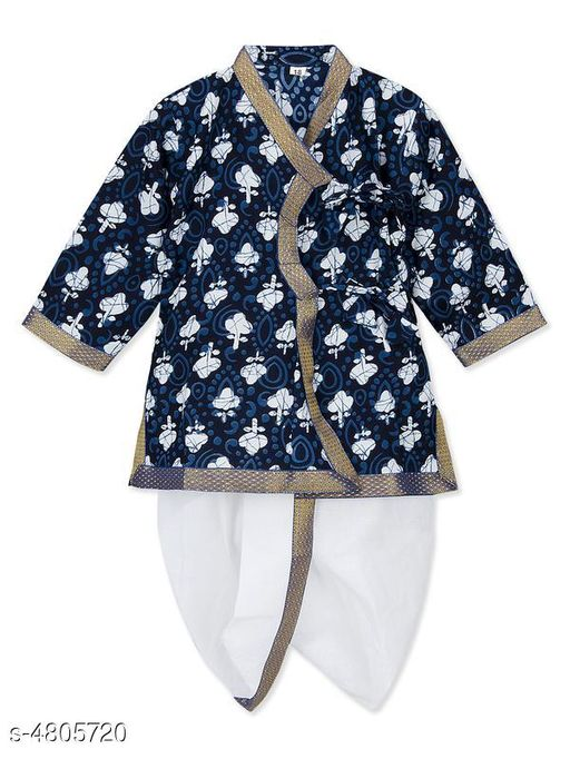 Kurta Sets Doodle Classy Rayon Kid's Boy's Kurta Sets  *Fabric* Kurta - Rayon , Dhoti - Rayon  *Sleeves* Sleeves Are Included  *Size* Age Group (2 - 3 Years) - 18 in , Chest - 13.6 in  , Waist - 6.5 in , Front Length - 17.5  in , Back Length - 18.3 in  Age Group (3 - 4 Years) - 20 in , Chest -  14.6 in , Waist - 7.3 in , Front Length - 20 in , Back Length - 18.6 in  Age Group (4 - 5 Years) - 22 in , Chest - 15.2 , Waist - 8.1 in , , Front Length - 21.6 in ,  , Back Length - 20.7 in  Age Group (5 - 6 Years) - 24 in , Chest - 15.3 , Waist - 8.3 in , , Front Length - 23 in ,  , Back Length - 23.2 in   *Type* Stitched  *Description* It Has 1 Piece Of Kid's Boy's Kurta & 1 Piece Of Kid's Boy's Dhoti  *Color* Kurta - Blue , Dhoti - White  *Pattern & Work* Kurta - Printed , Dhoti - Solid  *Sizes Available* 2-3 Years, 3-4 Years, 4-5 Years, 5-6 Years *   Catalog Rating: ★4.4 (35)  Catalog Name: Doodle Classy Rayon Kid's Boy's Kurta Sets Vol 1 CatalogID_700494 C58-SC1170 Code: 714-4805720-