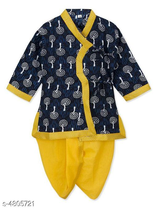 Kurta Sets Doodle Classy Rayon Kid's Boy's Kurta Sets  *Fabric* Kurta - Rayon , Dhoti - Rayon  *Sleeves* Sleeves Are Included  *Size* Age Group (2 - 3 Years) - 18 in , Chest - 13.6 in  , Waist - 6.5 in , Front Length - 17.5  in , Back Length - 18.3 in  Age Group (3 - 4 Years) - 20 in , Chest -  14.6 in , Waist - 7.3 in , Front Length - 20 in , Back Length - 18.6 in  Age Group (4 - 5 Years) - 22 in , Chest - 15.2 , Waist - 8.1 in , , Front Length - 21.6 in ,  , Back Length - 20.7 in  Age Group (5 - 6 Years) - 24 in , Chest - 15.3 , Waist - 8.3 in , , Front Length - 23 in ,  , Back Length - 23.2 in   *Type* Stitched  *Description* It Has 1 Piece Of Kid's Boy's Kurta & 1 Piece Of Kid's Boy's Dhoti  *Color* Kurta - Blue , Dhoti - Yellow  *Pattern & Work* Kurta - Printed , Dhoti - Solid  *Sizes Available* 2-3 Years, 3-4 Years, 4-5 Years, 5-6 Years *   Catalog Rating: ★4.3 (29)  Catalog Name: Doodle Classy Rayon Kid's Boy's Kurta Sets Vol 1 CatalogID_700494 C58-SC1170 Code: 744-4805721-