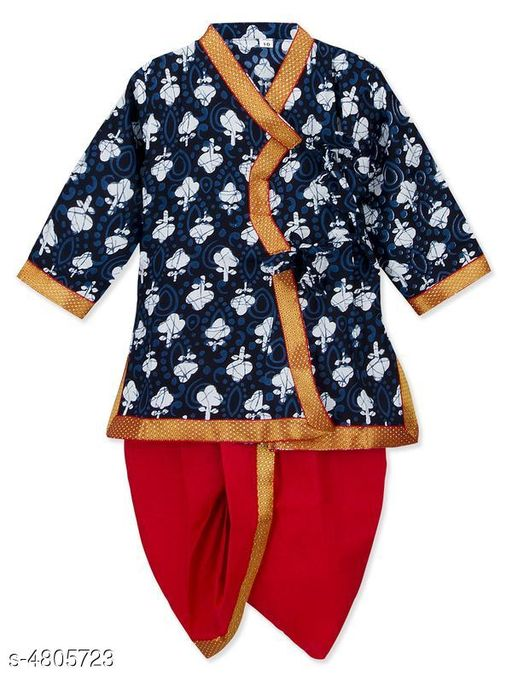 Kurta Sets Doodle Classy Rayon Kid's Boy's Kurta Sets  *Fabric* Kurta - Rayon , Dhoti - Rayon  *Sleeves* Sleeves Are Included  *Size* Age Group (3 - 4 Years) - 20 in , Chest - 14.6 in , Waist - 7.3 in , Front Length - 20 in , Back Length - 18.6 in  Age Group (4 - 5 Years) - 22 in , Chest - 15.2 , Waist - 8.1 in , , Front Length - 21.6 in ,  , Back Length - 20.7 in  Age Group (5 - 6 Years) - 24 in , Chest - 15.3 , Waist - 8.3 in , , Front Length - 23 in ,  , Back Length - 23.2 in   *Type* Stitched  *Description* It Has 1 Piece Of Kid's Boy's Kurta & 1 Piece Of Kid's Boy's Dhoti  *Color* Kurta - Blue , Dhoti - Red  *Pattern & Work* Kurta - Printed , Dhoti - Solid  *Sizes Available* 3-4 Years, 4-5 Years, 5-6 Years *   Catalog Rating: ★4.4 (22)  Catalog Name: Doodle Classy Rayon Kid's Boy's Kurta Sets Vol 1 CatalogID_700494 C58-SC1170 Code: 784-4805723-