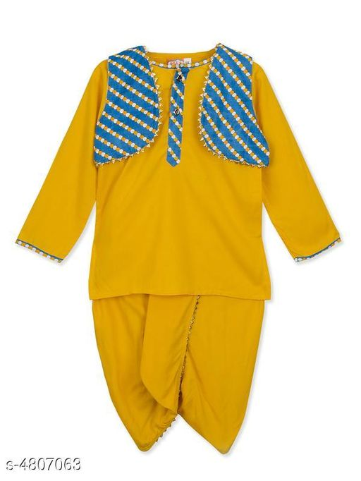 Kurta Sets Doodle Trendy Kid's Boy's Kurta Sets  *Fabric* Kurta - Rayon , Dhoti - Rayon  *Sleeves* Sleeves Are Included  *Size* Age Group (0 Months - 6 Months) - 14 in , Chest - 11.5  in  , Waist - 6 in , Front Length - 15 in , Back Length -  in 15.2 Age Group (6 Months - 12 Months) - 16 in , Chest - 12.3  in  , Waist - 6.3 in , Front Length - 16 in , Back Length -  in 15.3 in  Age Group (0 - 1 Year) - 16 in , Chest - 12.3  in  , Waist - 6.3 in , Front Length - 16 in , Back Length -  in 15.3 in  Age Group (2 - 3 Years) - 18 in , Chest -  13.6 in  , Waist - 6.5 in , Front Length - 17.5  in , Back Length - 18.3 in  Age Group (3 - 4 Years) - 20 in , Chest -  14.6 in , Waist - 7.3 in , Front Length - 20 in , Back Length - 18.6 in  Age Group (4 - 5 Years) - 22 in , Chest - 15.2 , Waist - 8.1 in , , Front Length - 21.6 in ,  , Back Length - 20.7 in  Age Group (5 - 6 Years) - 24 in , Chest - 15.3 , Waist - 8.3 in , , Front Length - 23 in ,  , Back Length - 23.2 in   *Type* Stitched  *Description* It Has 1 Piece Of Kid's Boy's Kurta With Attached Jacket & 1 Piece Of Kid's Boy's Dhoti  *Color* Kurta - Yellow , Dhoti - Yellow , Jacket - Blue  *Pattern & Work* Kurta - Printed , Dhoti -Solid   , Jacket - Printed  *Sizes Available* 2-3 Years, 3-4 Years, 4-5 Years, 5-6 Years, 0-6 Months, 6-12 Months, 0-1 Years *   Catalog Rating: ★4.2 (16)  Catalog Name: Doodle Trendy Kid's Boy's Kurta Sets Vol 1 CatalogID_700712 C58-SC1170 Code: 304-4807063-