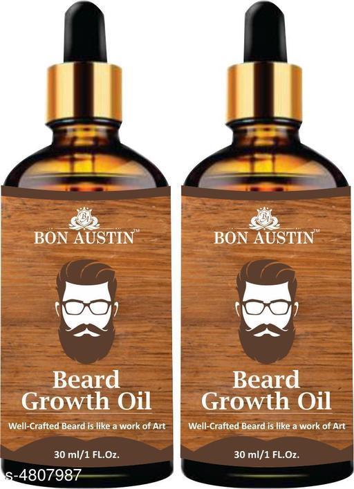 Bon Austin Beard Growth oil- For Stimulating Fast Beard Growth & to maintain Long Beard Combo pack of 2 Bottles of 30 ml(60 ml)