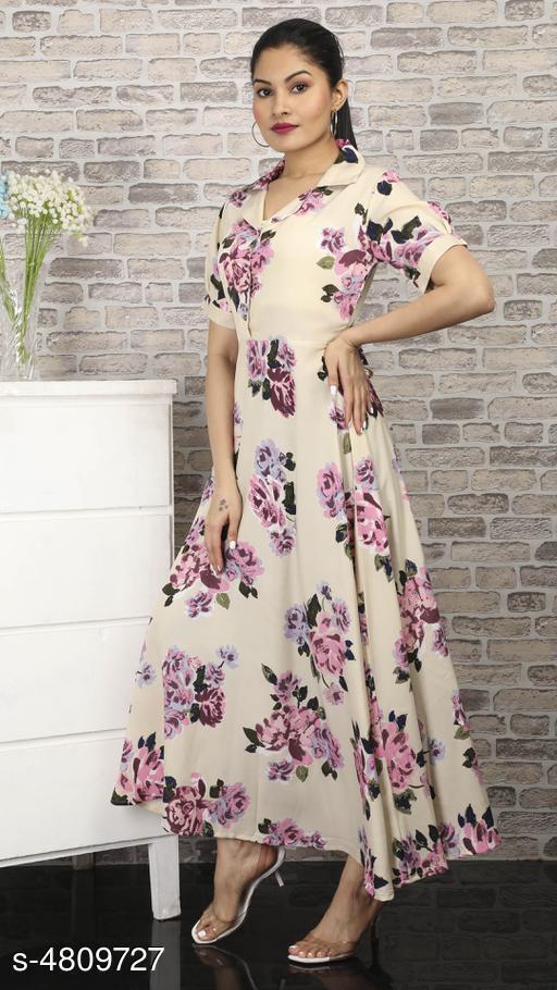 Women's Printed Cream Polycotton Dress