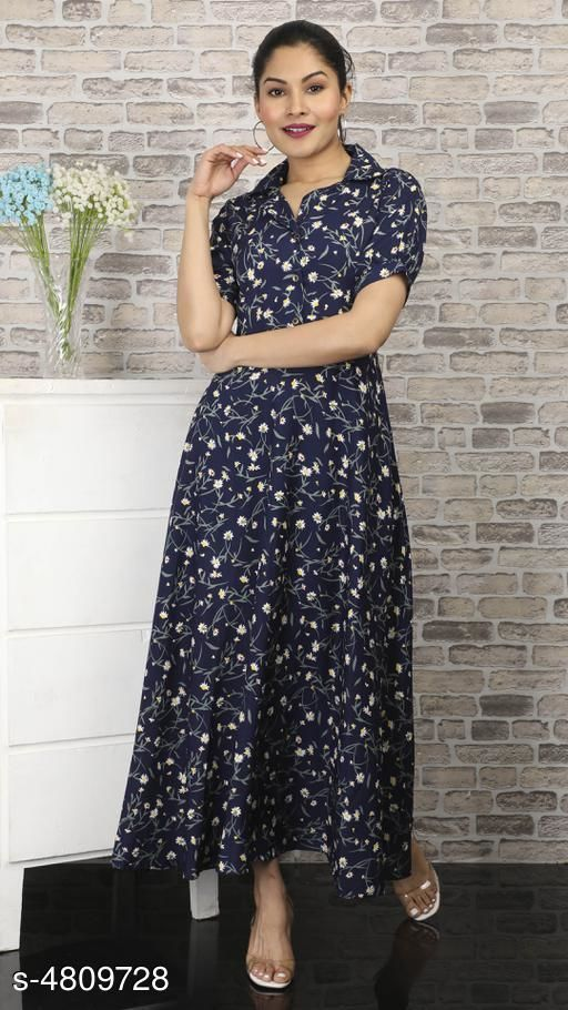 Women's Printed Navy Blue Polycotton Dress