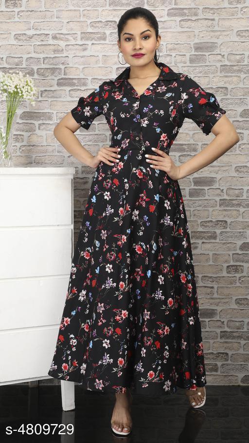 Women's Printed Black Polycotton Dress