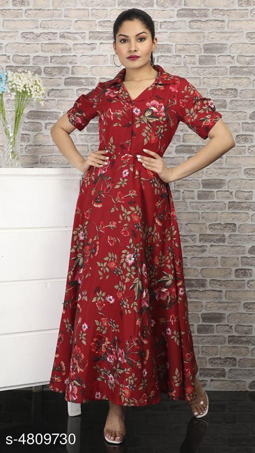 Women's Printed Maroon Polycotton Dress