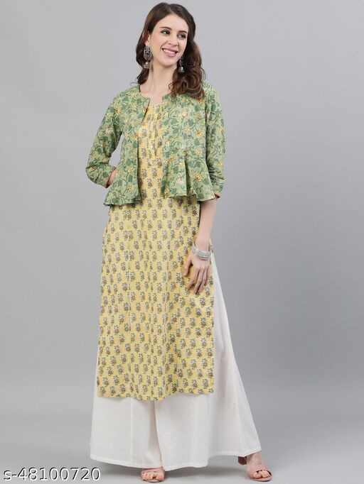 Green & Yellow Floral Printed Straight Kurta With Jacket