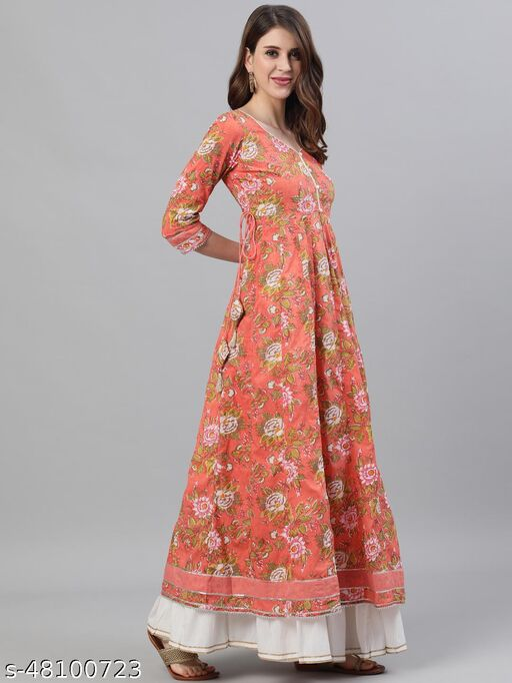 Peach Floral Printed Anarkali With Gotta Patti Work Dupatta