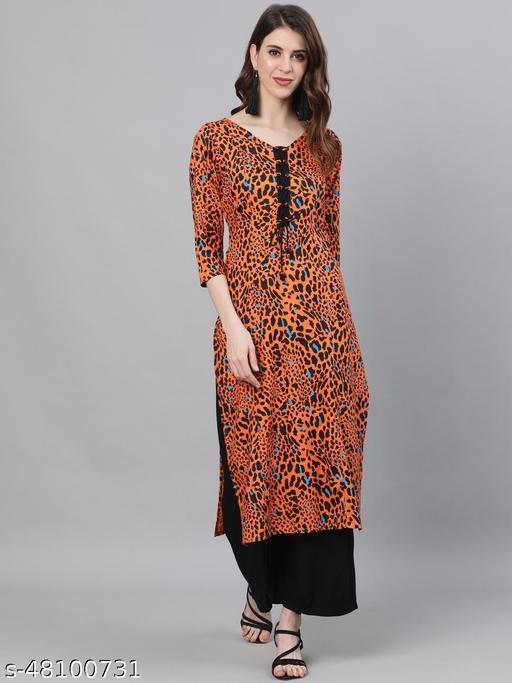 Orange & Black Animal Printed Straight Kurta