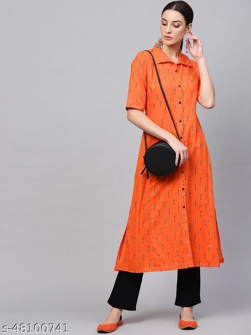 Orange Printed Shirt Kurta