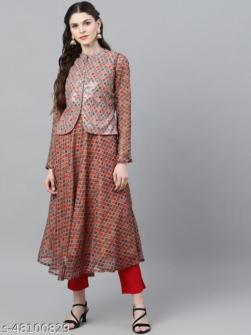 Beige & Red Printed Anarkali With Sequence Jacket