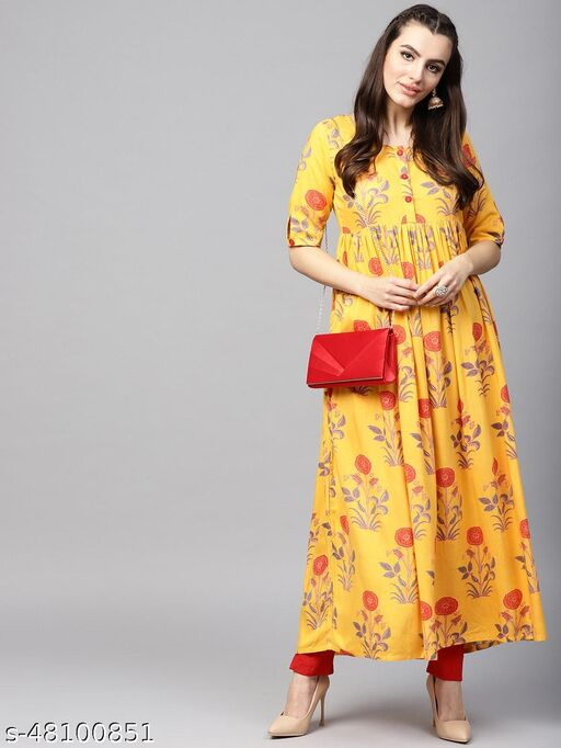Mustard Yellow & Red Floral Printed Pleated Kurta