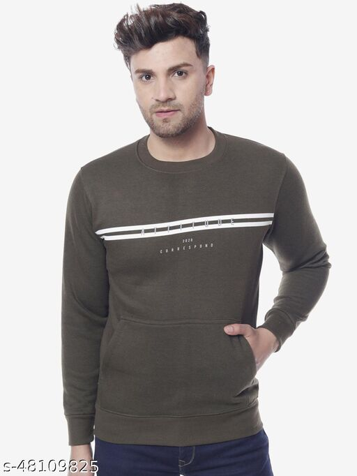 The Million Club Men's Olive Full Sleeves Round Neck Printed Sweatshirt